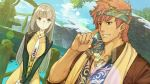 1boy 1girl atelier_(series) atelier_shallie black_jacket blush brown_coat brown_eyes brown_hair coat dress dutch_angle glasses head_scarf hidari_(left_side) jacket jewelry linca_(atelier) long_hair messy_hair necklace necktie official_art outdoors raoul_pireit redhead scarf tan upper_body v_arms water white_neckwear yellow_dress