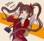 1girl backpack bag blush bow brown_eyes brown_hair camera camera_around_neck facing_to_the_side facing_viewer green_bow hair_tie hanusu happy_birthday idolmaster idolmaster_million_live! idolmaster_million_live!_theater_days jacket long_hair matsuda_arisa poster_(object) red_jacket solo v very_long_hair