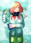 1girl arm_under_breasts bangs black_legwear blue_cardigan blue_sweater breasts brown_hair cardigan cellphone closed_eyes closed_mouth commentary_request dress_shirt go-toubun_no_hanayome green_skirt hair_between_eyes headphones headphones_around_neck highres holding holding_phone large_breasts long_hair lying mojyu_saico nakano_miku on_back pantyhose partially_submerged phone pleated_skirt shirt skirt smartphone smile sweater water wet white_shirt