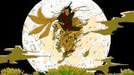 1boy arms_behind_head arms_up attack bandaged_arm bandaged_feet bandages beads black_hair black_shawl black_shorts clouds commentary_request covered_face facial_mark floating_hair flower forehead_mark fox fox_mask fringe_trim full_moon glint holding holding_sword holding_weapon incoming_attack jumping kawano kitsune lotus male_focus mask midair moon multiple_tails niconico night night_sky open_mouth original outdoors petals red_shirt riding rope shirt short_sleeves shorts sky sword tail third_eye tongue tongue_out tsukiakari_(vocaloid) unsheathed vocaloid weapon
