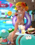 1girl absurdres aircraft beach_umbrella bikini blonde_hair blurry blurry_background building commentary cup day depth_of_field dirigible domino_mask drinking drinking_glass drinking_straw earrings flower food fruit hair_flower hair_ornament highres holding holding_cup holding_innertube huge_filesize ice inkling innertube jellyfish_(splatoon) jewelry kojajji-kun_(splatoon) lemon lemon_slice lens_flare mask naki_tamago navel o-ring o-ring_bikini outdoors palm_tree pointy_ears ponytail pool_ladder red_flower sandals sandwich skindentation splatoon_(series) standing sweat swimsuit tan tentacle_hair tree umbrella white_bikini white_footwear yellow_eyes