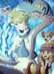 1boy 1girl arm_up black_shirt blonde_hair blue_eyes blush bracelet brown_hair clauncher clenched_hands elite_four eyelashes eyewear_on_headwear fennekin flabebe frying_pan gen_2_pokemon gen_6_pokemon grey_eyes hat highres holding_frying_pan jewelry long_hair magcargo on_head open_mouth parted_lips pink_headwear pokemoa pokemon pokemon_(creature) pokemon_(game) pokemon_on_head pokemon_xy red_skirt serena_(pokemon) shirt skirt sleeveless sleeveless_shirt starter_pokemon sunglasses teeth tongue water zumi_(pokemon)