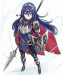 1girl blue_eyes blue_hair breastplate cape closed_mouth fire_emblem fire_emblem_awakening fire_emblem_heroes full_body haru_(nakajou-28) highres holding holding_shield long_hair lucina lucina_(fire_emblem) polearm shield simple_background solo tiara weapon white_background