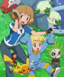 2girls age_difference bangs baseball_cap blonde_hair blue_eyes blue_jacket brown_hair child citron_(pokemon) citron_(pokemon)_(cosplay) collarbone cosplay cottonee day dedenne eureka_(pokemon) eyebrows_visible_through_hair eyelashes eyewear_on_head fingerless_gloves gen_1_pokemon gen_5_pokemon gen_6_pokemon glasses gloves grass hat jacket multiple_girls open_mouth outdoors oversized_clothes pancham pants pikachu pikachu_(cosplay) pokemoa pokemon pokemon_(anime) pokemon_(creature) pokemon_xy_(anime) red_headwear satoshi_(pokemon) satoshi_(pokemon)_(cosplay) serena_(pokemon) shiny shiny_hair short_hair standing standing_on_one_leg sweatdrop tent tongue two-tone_jacket wind