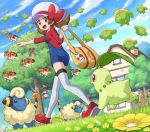 1girl :d aipom bag blue_overalls blush bow brown_eyes brown_hair building chikorita clouds day dunsparce eyelashes flower from_below from_side gen_2_pokemon grass hat hat_bow highres holding holding_bag kotone_(pokemon) ledyba looking_down mareep open_mouth outdoors outstretched_arm overalls pointing pokemoa pokemon pokemon_(creature) pokemon_(game) pokemon_hgss red_bow red_footwear shoes skiploom sky smile starter_pokemon sudowoodo thigh-highs tongue tree twintails walking white_headwear white_legwear yellow_bag