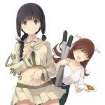 2girls ^_^ ^o^ bangs black_hair blunt_bangs braid brown_hair closed_eyes collarbone cowboy_shot curry curry_rice eyebrows_visible_through_hair food green_skirt highres holding holding_plate holding_spoon kantai_collection kitakami_(kantai_collection) long_hair midriff multiple_girls navel neckerchief ooi_(kantai_collection) open_mouth plate pleated_skirt remodel_(kantai_collection) rice sakana school_uniform serafuku shirt short_sleeves sidelocks simple_background single_braid skirt smile spoon torpedo violet_eyes white_background white_neckwear white_shirt