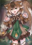 1girl :d absurdres acorn animal_ears bag bangs blush brown_dress brown_hair claw_pose commission dress eyebrows_visible_through_hair fang fur_trim green_eyes highres large_tail long_sleeves looking_at_viewer monster_girl monster_girl_encyclopedia multicolored_hair neonbeat open_mouth puffy_long_sleeves puffy_sleeves ratatoskr_(monster_girl_encyclopedia) scroll short_hair shoulder_bag signature skin_fang smile solo squirrel_ears squirrel_tail standing streaked_hair tail thigh-highs zettai_ryouiki