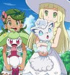 2girls :d alolan_form alolan_vulpix bangs blonde_hair braid clouds dark_skin day dress flower gen_7_pokemon green_eyes green_hair hair_flower hair_ornament happy hat holding holding_pokemon lillie_(pokemon) long_hair mao_(pokemon) multiple_girls open_mouth pokemoa pokemon pokemon_(anime) pokemon_(creature) pokemon_sm_(anime) sky sleeveless sleeveless_dress smile standing steenee sun_hat swept_bangs teeth tongue tree twintails upper_teeth white_dress white_headwear