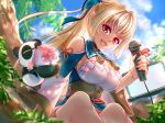 1girl absurdres bare_shoulders blonde_hair blue_sky breasts cleavage_cutout computer dark_skin elf highres holding holding_microphone hololive kintsuba_(flare_channel) laptop long_hair long_ponytail looking_at_viewer microphone open_mouth outdoors pointy_ears shigemu_room shiranui_flare sky upper_teeth virtual_youtuber
