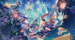 6+girls arknights black_jacket brown_hair building choker cityscape clouds coat day dragon_horns dress drone flamethrower gloves highres holding horns ifrit_(arknights) jacket labcoat long_hair long_sleeves looking_at_viewer magallan_(arknights) mayer_(arknights) multiple_girls nijimaarc outdoors ptilopsis_(arknights) rhine_lab_(arknights) rhine_lab_logo saria_(arknights) see-through shield short_hair silence_(arknights) silver_hair staff weapon white_coat white_dress white_gloves