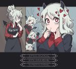 23nanato 5girls animal_ears apron bangs black_apron black_gloves black_neckwear blunt_bangs blush cerberus_(helltaker) closed_mouth collared_shirt demon_girl demon_horns demon_tail dog_ears eyebrows_visible_through_hair fang gloves heart heart-shaped_pupils helltaker highres horns long_hair long_sleeves looking_at_another looking_at_viewer lucifer_(helltaker) modeus_(helltaker) multiple_girls necktie open_mouth parted_lips red_eyes red_shirt red_sweater ribbed_sweater shirt short_hair short_ponytail sweater symbol-shaped_pupils tail translation_request triangle_mouth turtleneck turtleneck_sweater white_hair