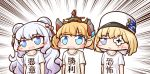 +_+ 3girls :d aka_shiba azur_lane bangs blonde_hair blue_eyes blush_stickers collarbone commentary_request double_bun emphasis_lines eyebrows_visible_through_hair gradient_hair hair_between_eyes hair_ornament hair_ribbon hat le_malin_(azur_lane) le_terrible_(azur_lane) le_triomphant_(azur_lane) long_hair looking_to_the_side monocle multicolored_hair multiple_girls open_mouth ribbon shirt short_hair short_sleeves sidelocks silver_hair simple_background smile standing sweatdrop symbol-shaped_pupils t-shirt translation_request triangle_mouth upper_body very_long_hair white_background white_headwear white_shirt