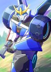 1girl autobot blue_eyes gun holding holding_gun holding_weapon insignia looking_at_viewer mecha nikki_koha pursed_lips running solo strongarm_(transformers) transformers transformers:_robots_in_disguise_(2015) v-fin v-shaped_eyebrows weapon