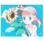1girl :o blonde_hair blue_eyes blue_sky blush border clouds cloudy_sky commentary_request dedenne dress eureka_(pokemon) flower gen_6_pokemon hair_bobbles hair_ornament hat looking_at_viewer mei_(maysroom) on_head pokemon pokemon_(anime) pokemon_(creature) pokemon_on_head pokemon_xy_(anime) ribbon short_twintails signature sky sleeveless sleeveless_dress straw_hat sundress sunflower sweat twintails upper_body viewfinder white_border white_dress