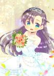 1girl :d asymmetrical_bangs bangs blush bouquet bow brown_hair commentary_request commission dress elbow_gloves eyebrows_visible_through_hair flower frilled_dress frilled_gloves frills gloves green_eyes hair_between_eyes holding holding_bouquet kouu_hiyoyo long_hair open_mouth original petals pink_flower smile solo strapless strapless_dress tiara very_long_hair wedding_dress white_bow white_dress white_flower white_gloves