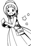 1girl :d bag bow commentary_request dot_nose dress feet_out_of_frame handheld_game_console hat high_contrast highres holding holding_handheld_game_console katsuwo_(cr66g) kise_sacchan looking_at_viewer medium_hair mitsuboshi_colors monochrome open_mouth shoulder_bag smile solo star_(symbol) white_background