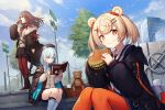 3girls amano_misaki animal_ears arknights axe bangs bear_ears beret black_jacket blonde_hair blue_eyes blue_hair blue_sky book boots braid brown_hair cardigan chain choker closed_mouth commentary_request eating eyebrows_visible_through_hair food fur-trimmed_jacket fur_trim gummy_(arknights) hair_ornament hairclip hamburger hat highres holding holding_axe holding_book holding_food holding_weapon istina_(arknights) jacket kneehighs long_hair long_sleeves looking_at_viewer miniskirt multicolored_hair multiple_girls necktie open_clothes open_jacket orange_eyes outdoors pantyhose reading road_sign short_hair sign sitting skirt sky standing streaked_hair stuffed_animal stuffed_toy teddy_bear weapon zima_(arknights)