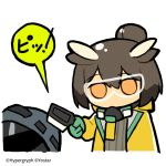 1girl 1other arknights brown_hair chibi commentary_request company_name cropped_torso device doctor_(arknights) feather_hair feathers gloves goggles green_gloves grey_jacket hazmat_suit holding_scanner hood hooded_jacket jacket line_(naver) mask mask_removed mouth_mask no_mouth official_art owl_ears scanner short_hair silence_(arknights) simple_background sound_effects speech_bubble tinted_eyewear watermark white_background yellow_jacket