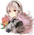 1girl blush breasts closed_mouth corrin_(fire_emblem) corrin_(fire_emblem)_(female) fire_emblem fire_emblem_fates flower grey_hair hair_between_eyes hairband haru_(nakajou-28) long_hair looking_at_viewer medium_breasts pointy_ears red_eyes simple_background smile solo white_background
