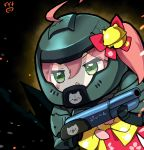 1girl 35p_(miko_channel) absurdres ahoge cherry_blossom_print chestnut_mouth chibi cosplay crack doom_(2016) doomguy doomguy_(cosplay) floral_print green_eyes gun helmet highres hololive nejime open_mouth paw_print_pattern pink_hair sakura_miko shotgun signature solo virtual_youtuber weapon
