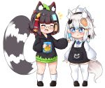 2girls :d ^_^ animal_ear_fluff animal_ears bailingxiao_jiu bangs black-framed_eyewear black_bow black_dress black_footwear black_hair black_hoodie blue_eyes blue_hair blush bow braid candy closed_eyes collared_shirt drawstring dress dress_shirt drooling eyebrows_visible_through_hair fang food fox_ears fox_girl fox_hair_ornament fox_tail glasses hair_between_eyes hair_bow heart heart-shaped_pupils highres holding holding_food holding_lollipop hood hood_down hoodie leaf leaf_on_head loafers lollipop long_sleeves multiple_girls notice_lines open_mouth original parted_lips pince-nez puffy_long_sleeves puffy_sleeves raccoon_ears raccoon_girl raccoon_tail red-framed_eyewear redhead saliva shirt shoes side_braid silver_hair simple_background single_braid sleeveless sleeveless_dress sleeves_past_wrists smile socks standing symbol-shaped_pupils tail thigh-highs white_background white_legwear white_shirt