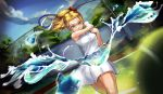 1girl absurdres ball blonde_hair blue_eyes bow breasts commentary day dutch_angle english_commentary genki_(book) hair_bow highres holding_racket long_hair medium_breasts motion_blur playing_sports ponytail racket red_bow samu_(7643109) shirt skirt sleeveless smile solo splashing sport sportswear taut_clothes taut_shirt tennis tennis_ball tennis_racket tennis_uniform water white_skirt