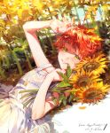 1girl ahoge arm_up bangs bare_shoulders character_name commentary_request dated day dress emma_(yakusoku_no_neverland) english_text eyebrows_visible_through_hair flower green_eyes hand_on_own_chest happy_birthday highres light lips looking_at_viewer lying on_back orange_hair outdoors parted_lips shaded_face short_hair sleeveless sleeveless_dress smile solo sunflower sunlight upper_body white_dress yakusoku_no_neverland yala1453 yellow_flower