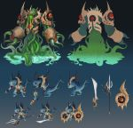 absurdres armor character_sheet cthulhu cthulhu_mythos deep_one fins fish highres holding holding_weapon iirehtona multiple_views octopus polearm red_eyes sharp_teeth shield shoulder_armor slit_pupils sword teeth tentacles trident vambraces weapon