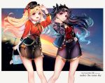 2girls absurdres bangs black_hair blonde_hair blush breasts chiachun0621 contemporary ereshkigal_(fate/grand_order) fate/grand_order fate_(series) gradient_sky highres huge_filesize ishtar_(fate)_(all) ishtar_(fate/grand_order) long_hair long_sleeves looking_at_viewer multiple_girls open_mouth parted_bangs red_eyes skirt sky smile sunset thighs twilight two_side_up