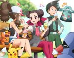 1boy 2girls aqua_eyes baseball_cap bench black_hair black_vest blue_shorts blush bronzong brown_hair closed_eyes collared_shirt denim denim_shorts dress eating feeding food frontier_brain gen_1_pokemon gen_3_pokemon gen_4_pokemon gen_5_pokemon green_hair grey_dress gym_leader happy hat heart holding holding_food ice_cream licking long_hair long_sleeves multicolored_hair multiple_girls musical_note necktie nejiki_(pokemon) nosepass on_bench open_mouth pantyhose pikachu pink_eyes pink_legwear poke_ball_print pokemoa pokemon pokemon_(creature) pokemon_(game) pokemon_bw pokemon_dppt pokemon_oras pokemon_platinum ponytail shirt short_sleeves shorts sitting smile starter_pokemon tepig touko_(pokemon) tsutsuji_(pokemon) twintails two-tone_hair vest white_shirt wristband