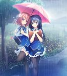 2girls absurdres bag black_hair blue_eyes flower hair_flower hair_ornament highres holding holding_bag holding_umbrella hoshina_nagisa imageboard_sample jpeg_artifacts kimi_no_tonari_de_koishiteru! komatsu_rina long_hair medium_hair motomiya_mitsuki multiple_girls pantyhose pink_eyes rain redhead school_uniform thigh-highs tree umbrella zettai_ryouiki