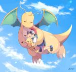 1boy :d baseball_cap black_hair blue_shorts blue_sky carrying closed_eyes clouds cloudy_sky commentary_request creature dragon dragonite episode_number flying gen_1_pokemon hat highres holding holding_pokemon looking_at_another mei_(maysroom) no_socks number one_eye_closed open_mouth pikachu pokemon pokemon_(anime) pokemon_(creature) pokemon_swsh_(anime) red_headwear satoshi_(pokemon) shirt shoes shorts signature sky smile upper_teeth white_shirt