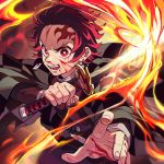 1boy angry blood blood_on_face bloody_hands buttons collar ear_piercing earrings facial_scar fingernails fire forehead_scar highres holding holding_sword holding_weapon japanese_clothes jewelry kamado_tanjirou katana ke02152 kimetsu_no_yaiba long_sleeves looking_at_viewer open_mouth piercing red_eyes redhead scar simple_background solo sword teeth upper_body weapon