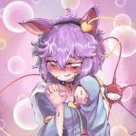1girl @_@ animal_ears bell blush cat_ears collar embarrassed fake_animal_ears heart hood hoodie komeiji_satori looking_down paw_pose purple_hair solo sunyup sweat third_eye touhou