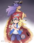 2boys back-to-back baseball_cap black_hair black_headwear blue_jacket blue_shorts brown_eyes cape character_print commentary_request dande_(pokemon) dark_skin dark_skinned_male episode_number feet_out_of_frame fur-trimmed_cape fur_trim gen_1_pokemon gen_2_pokemon gradient gradient_background hat highres hoothoot jacket long_hair looking_at_viewer looking_back male_focus mei_(maysroom) multiple_boys number on_shoulder pikachu pokemon pokemon_(anime) pokemon_(creature) pokemon_on_shoulder pokemon_swsh_(anime) print_cape purple_hair red_cape red_headwear satoshi_(pokemon) serious shirt shorts signature smile white_shirt