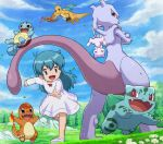 1girl :d aitwo_(pokemon) aqua_hair blue_eyes bow bulbasaur charmander chasing child clouds day dragon dragonite dress dress_bow eyebrows_visible_through_hair fearow flower from_below gen_1_pokemon grass happy legendary_pokemon long_hair mew mewtwo mythical_pokemon open_mouth outstretched_arm pokemoa pokemon pokemon_(anime) pokemon_(classic_anime) pokemon_(creature) pokemon_m01 red_bow running shiny shiny_hair sky smile squirtle starter_pokemon starter_pokemon_trio tongue
