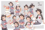 1boy ahoge angry bed_sheet black_hair black_pants blush character_name closed_eyes compass_print eyelashes fire gou_(pokemon) grey_background grey_shirt hand_in_pocket hand_on_another's_head highres looking_at_another male_focus mei_(maysroom) multiple_views navel on_head on_lap on_shoulder one_eye_closed open_mouth outstretched_arm pants pokemon pokemon_(anime) pokemon_(creature) pokemon_on_head pokemon_on_lap pokemon_on_shoulder pokemon_swsh_(anime) rubbing running shirt shirt_lift simple_background sitting sleepy smile sparkle sparkling_eyes spiky_hair sweat tagme upper_teeth