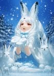 1girl :3 :d animal animal_ear_fluff animal_ears arctic_hare_(kemono_friends) capelet commentary eyebrows_visible_through_hair fur-trimmed_capelet fur_trim highres kemono_friends lain long_hair looking_up mittens open_mouth outdoors pantyhose rabbit rabbit_ears red_eyes sitting smile snow snowing solo wariza white_capelet white_hair white_legwear white_mittens