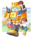 1girl 3boys autobot black_hoodie blonde_hair blue_eyes blue_headband brown_hair bumblebee character_request chibi chip_chase computer denim headband highres holding_person jeans lantana0_0 laptop mecha multiple_boys one_eye_closed open_mouth pants running shirt smile spike_witwicky transformers white_shirt wrench