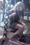 1girl alternate_costume bracelet brown_hair earrings girls_frontline head_tilt highres jewelry looking_at_viewer miyabino_(miyabi1616) night open_mouth park pov purple_nails sandals skirt solo_focus sweater swing toes ump9_(girls_frontline) yellow_eyes