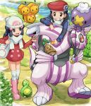 1boy 1girl alternate_size beanie black_hair blue_eyes bonsly boots budew buttons combee day dress drifloon gen_4_pokemon hat hikari_(pokemon) holding kouki_(pokemon) legendary_pokemon long_hair long_sleeves open_mouth outdoors palkia pink_footwear pokemoa pokemon pokemon_(creature) pokemon_(game) pokemon_dppt red_dress scarf scratching_chin smile stream teeth tongue walking water white_headwear white_legwear white_scarf winter_clothes