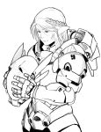 1girl armor braid cowboy_shot eyebrows_visible_through_hair freckles full_armor hair_between_eyes headwear_removed helmet helmet_removed highres holding holding_helmet less monochrome original pointy_ears power_armor short_hair solo standing white_background