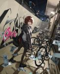 absurdres arknights bag bicycle black_legwear brown_hair building character_name duffel_bag dumpster exusiai_(arknights) fingerless_gloves gloves graffiti great_lungmen_logo ground_vehicle halo highres hood hood_down hooded_jacket huge_filesize jacket looking_at_viewer night orval outdoors raincoat shoes short_hair sneakers texas_(arknights)