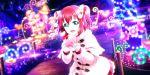 blush green_eyes jacket kurosawa_ruby love_live!_school_idol_festival_all_stars pink_hair short_hair smile