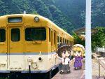 chibi ground_vehicle maribel_hearn photo realistic touhou train train_station tree usami_renko