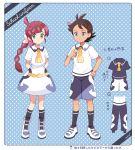 1boy 1girl anchor_print black_hair blue_eyes braid braided_ponytail dark_skin dark_skinned_male dotted_background english_text gou_(pokemon) green_eyes highres matching_outfit mei_(maysroom) pink_hair pokemon pokemon_(anime) pokemon_swsh_(anime) sakuragi_koharu school_uniform shoes smile sneakers spiky_hair tagme
