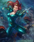 1girl aquaman_(series) arms_up blue_eyes bodysuit breasts cleavage covered_navel curly_hair dc_comics jewelry judash137 long_hair looking_at_viewer medium_breasts mera_(dc) muscle open_mouth outstretched_arms redhead restrained shiny shiny_clothes solo superhero thighs toned underwater