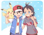 2boys :3 ;d arm_around_shoulder baseball_cap black_hair black_shirt blue_background blue_eyes blue_jacket blue_shorts brown_eyes commentary_request dark_skin dark_skinned_male episode_number gen_1_pokemon gou_(pokemon) grin hat highres jacket looking_at_another mei_(maysroom) multiple_boys number on_shoulder one_eye_closed open_mouth pikachu pokemon pokemon_(anime) pokemon_(creature) pokemon_on_shoulder pokemon_swsh_(anime) polka_dot polka_dot_background red_headwear satoshi_(pokemon) shirt shorts signature smile white_shirt