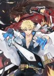 back-to-back bana_(stand_flower) blonde_hair blue_eyes brown_hair fingerless_gloves fire gloves guilty_gear guilty_gear_strive headband highres jacket ky_kiske lightning muscle ponytail rivalry short_hair simple_background sol_badguy sword weapon