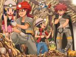 1girl 3boys :d :o belt belt_buckle black_footwear black_hair blue_eyes blush boots brown_hair buckle cape cave facial_hair father_and_son gen_1_pokemon gen_4_pokemon geodude glasses gym_leader hand_on_own_chin happy hardhat hat helmet hikari_(pokemon) holding holding_shovel hyouta_(pokemon) kouki_(pokemon) leaf_stone leaning_forward long_hair multiple_boys one_knee open_mouth pants piplup pokemoa pokemon pokemon_(creature) pokemon_(game) pokemon_dppt red_scarf scarf shieldon shovel skirt smile standing starter_pokemon teeth tongue tougan_(pokemon) turtwig upper_teeth